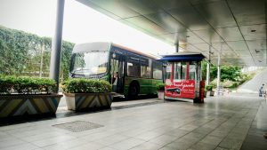 electric bus waiting for passengers in hyderabad international airport